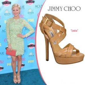 Jimmy Choo Nude Louisa Crisscross Platform Sandals